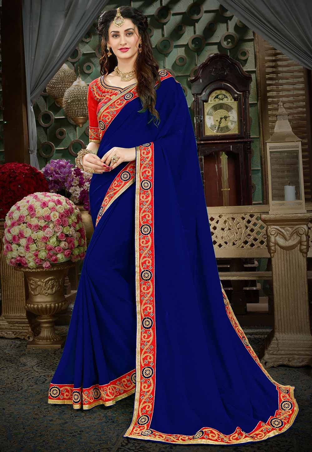 Blue Color Designer Sari.