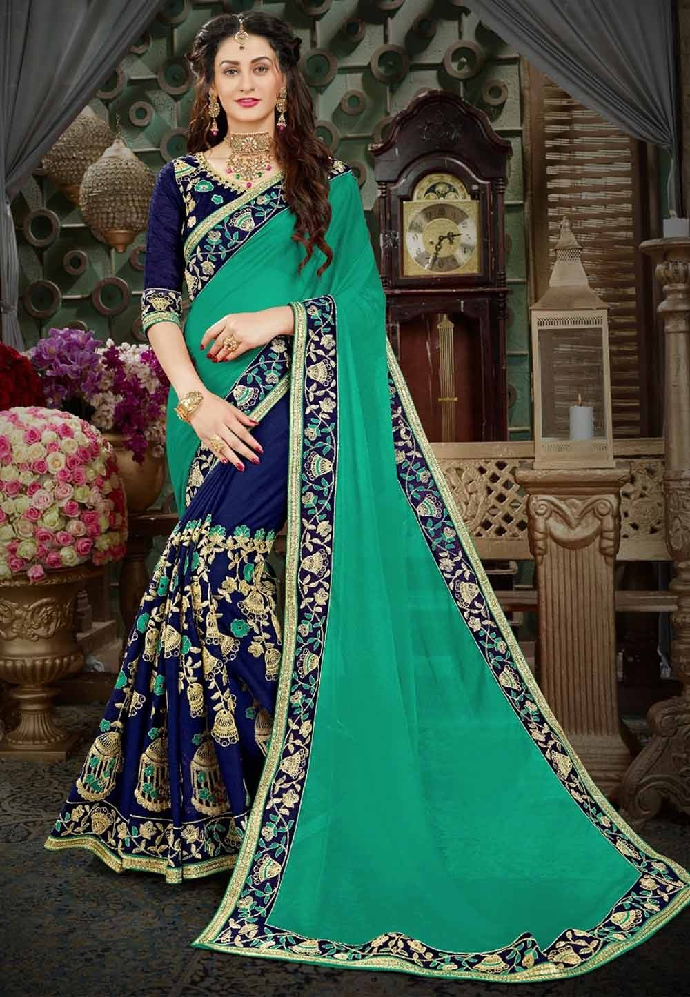 Green,Blue Color Indian Designer Saree.