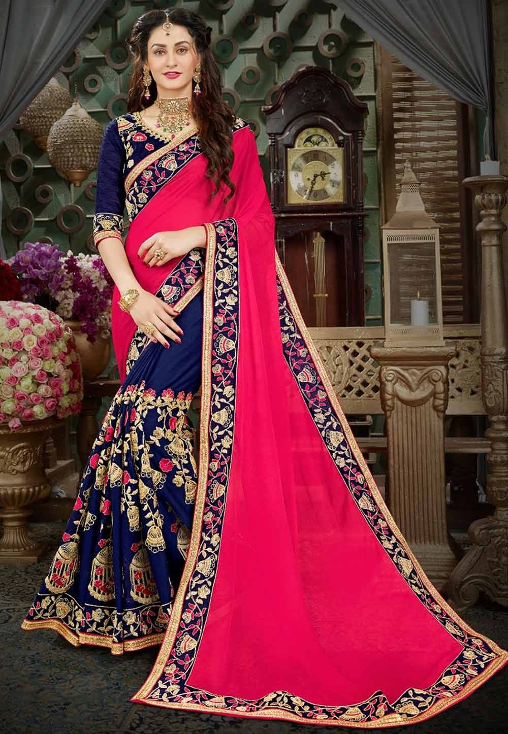 Red,Blue Color Party Wear Saree.