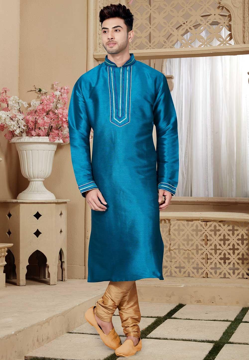 Buy Blue Color Art Silk Designer Kurta Pajama