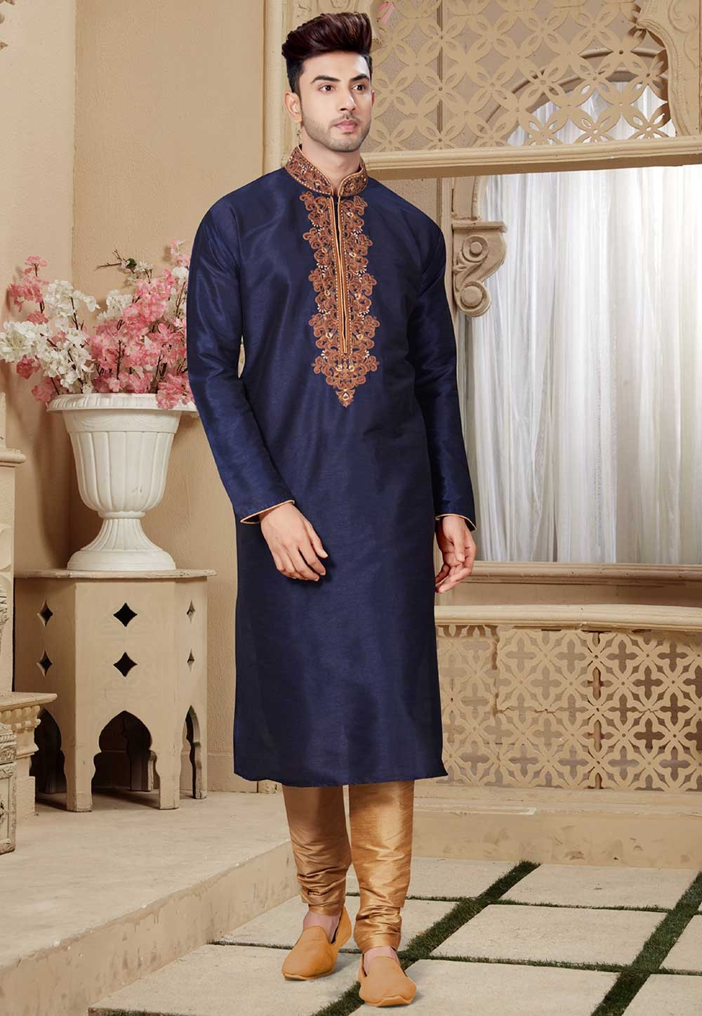 Buy Blue Color Readymade Designer India Kurta Pajama