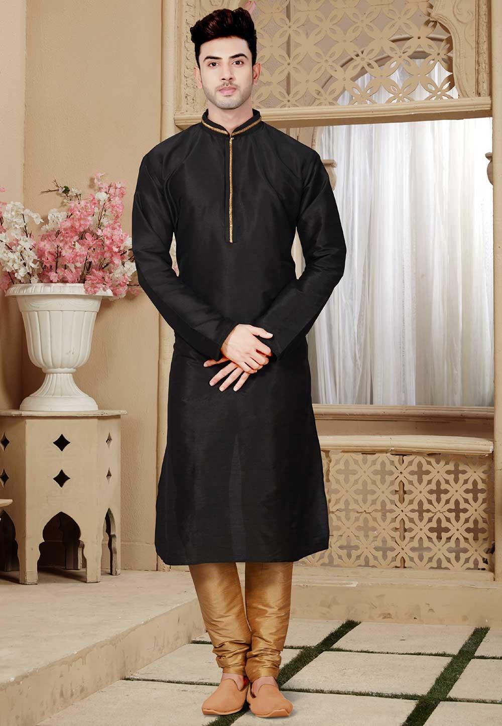 Buy Black Color Party Wear Designer Kurta Pajama Wedding