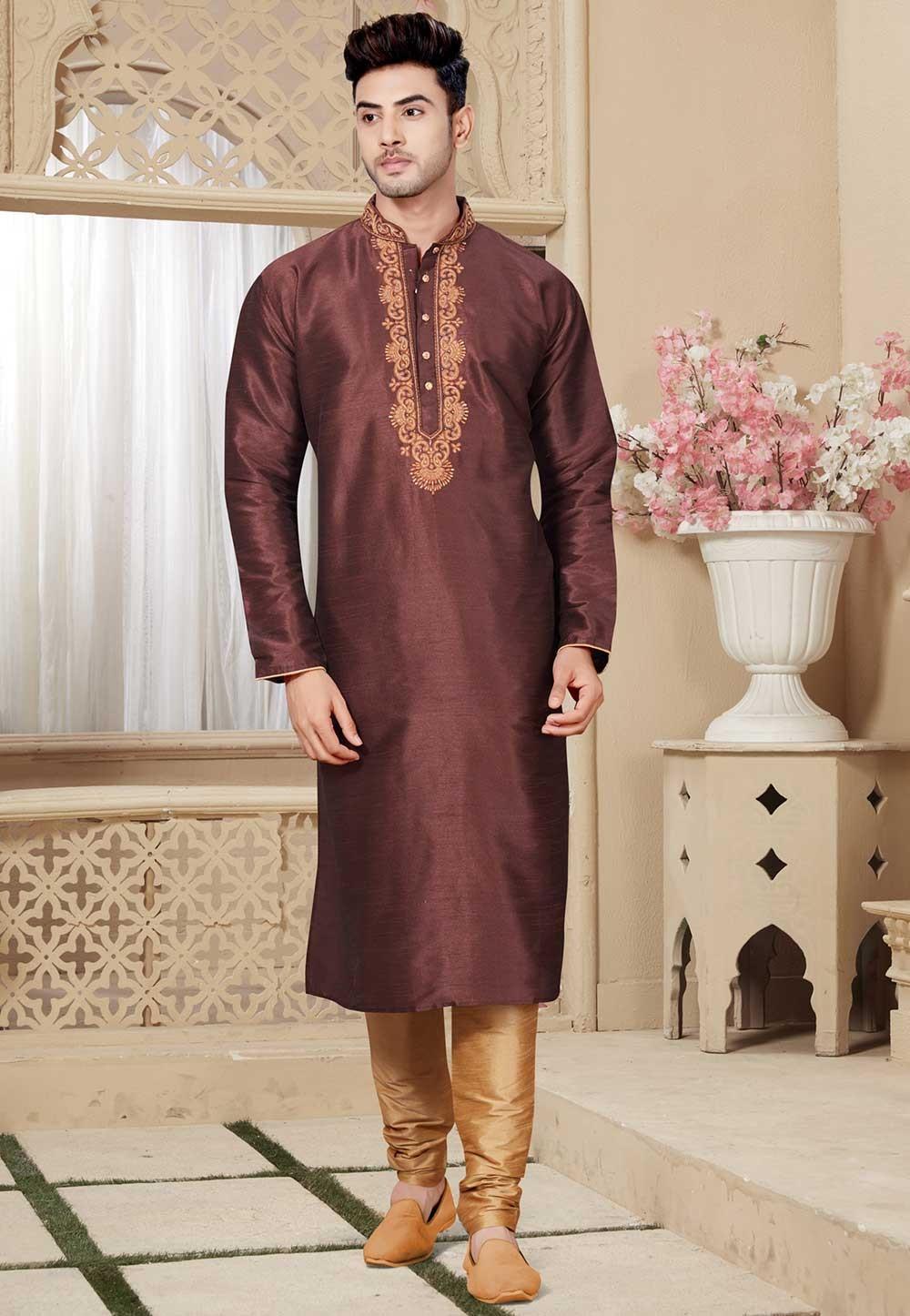 Buy Brown Color Readymade Designer Kurta Pajama for Mens