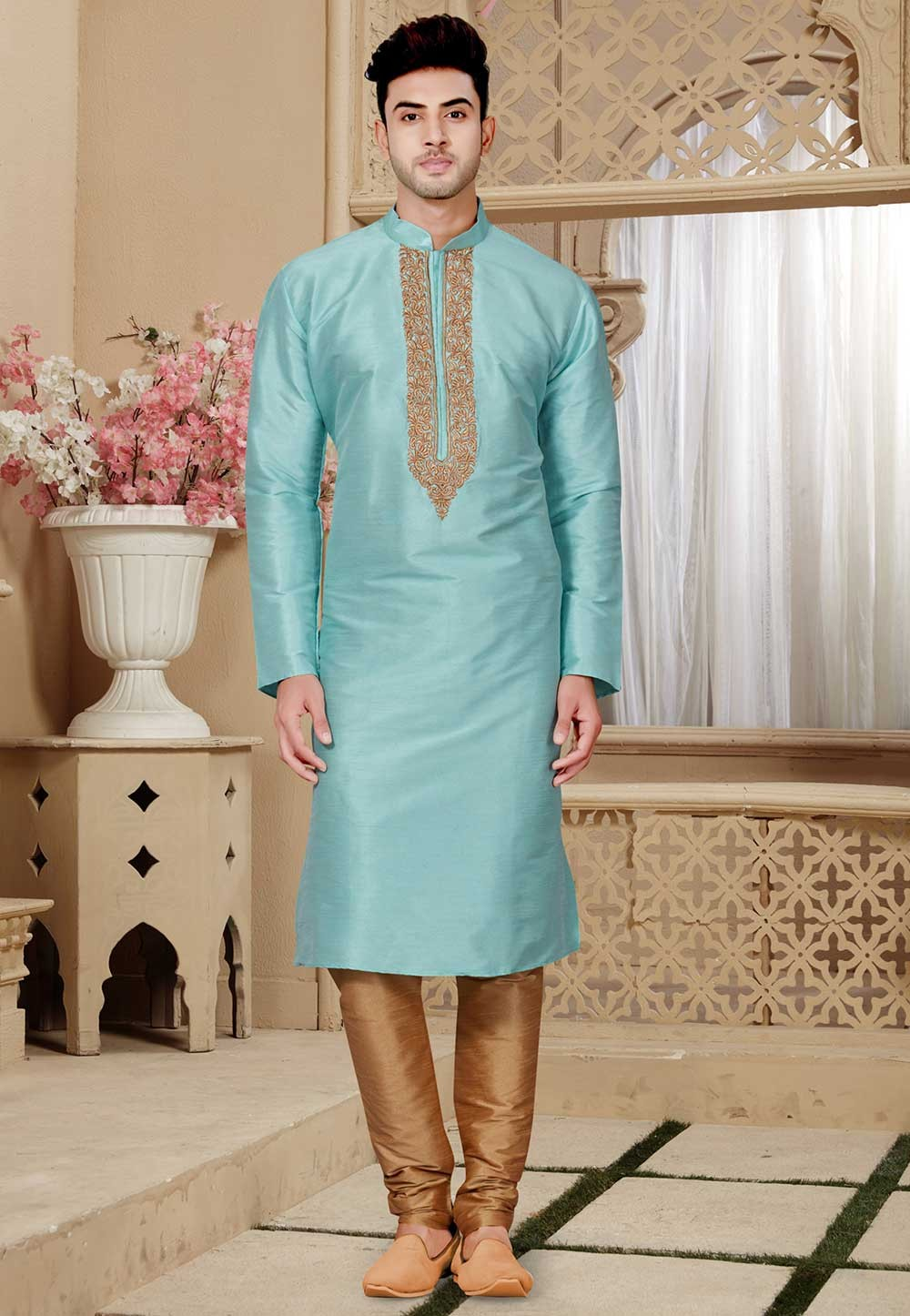 Buy Turquoise Color Designer Kurta Pajama