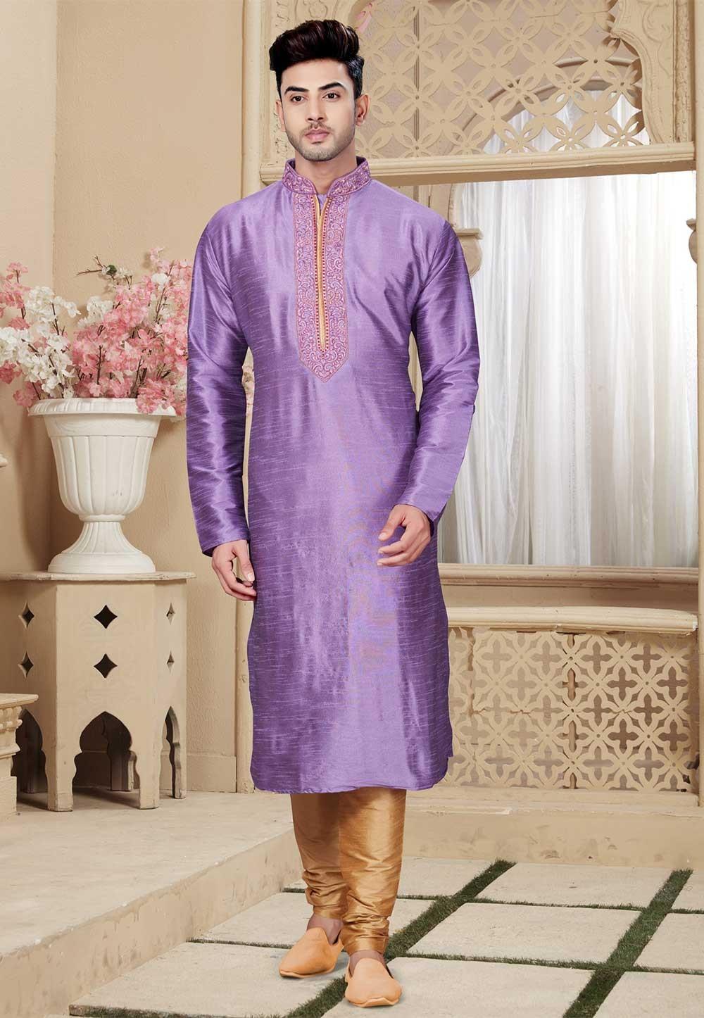 Buy Purple Color Art Silk Designer Indian Kurta Pajama