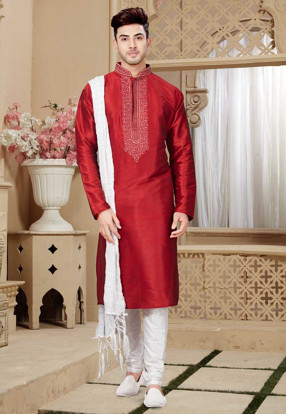 Buy Maroon Color Party Wear Designer Indian Kurta Pajama