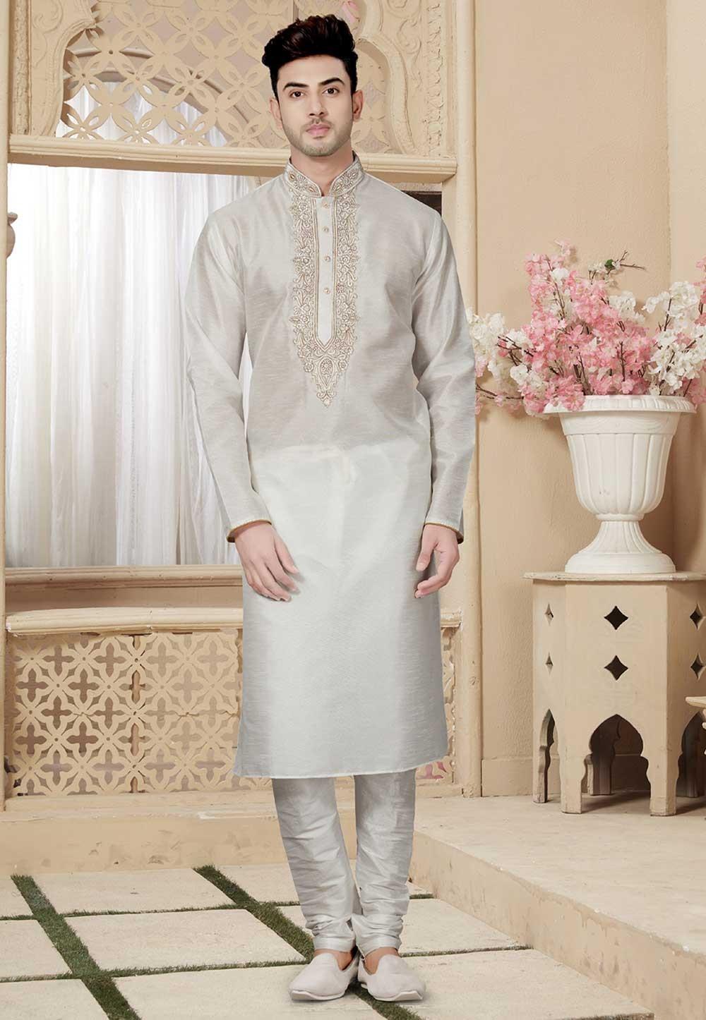 Buy Off White Color Readymade Designer Kurta Pajama for Weddings