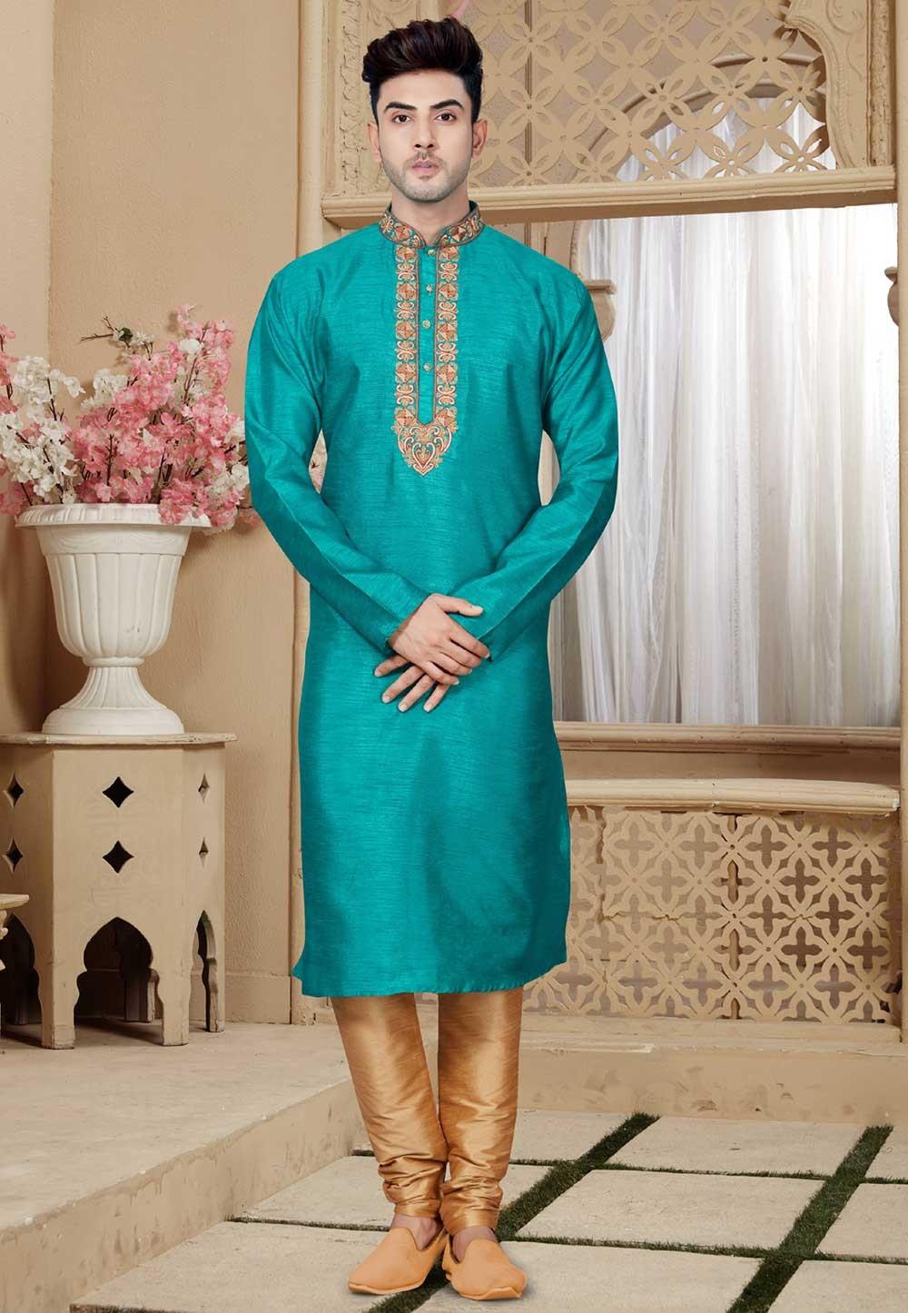 Buy Green Color Kurta Pajama Online for Mens