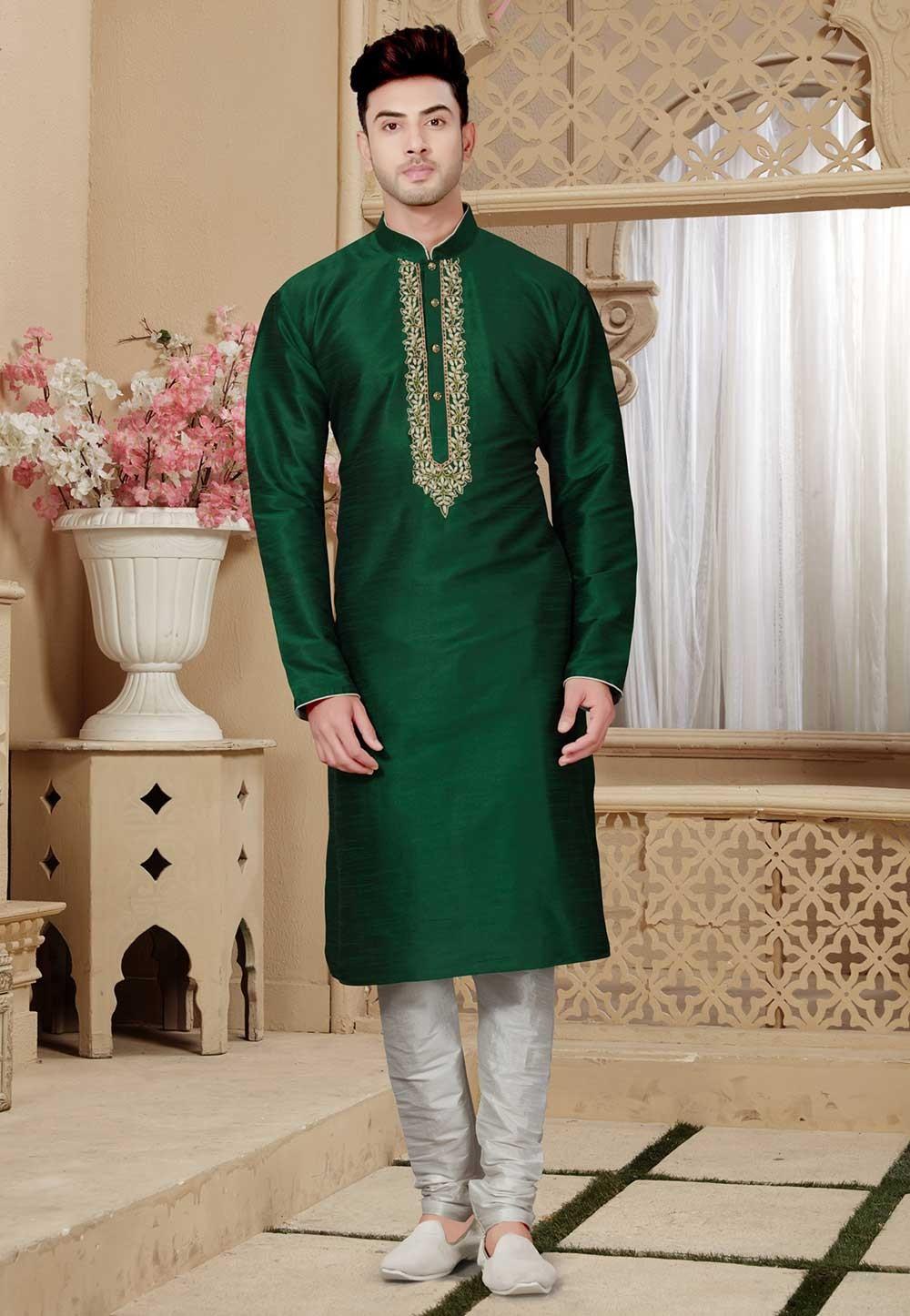 Buy Green Color Designer Kurta Pajama for mens