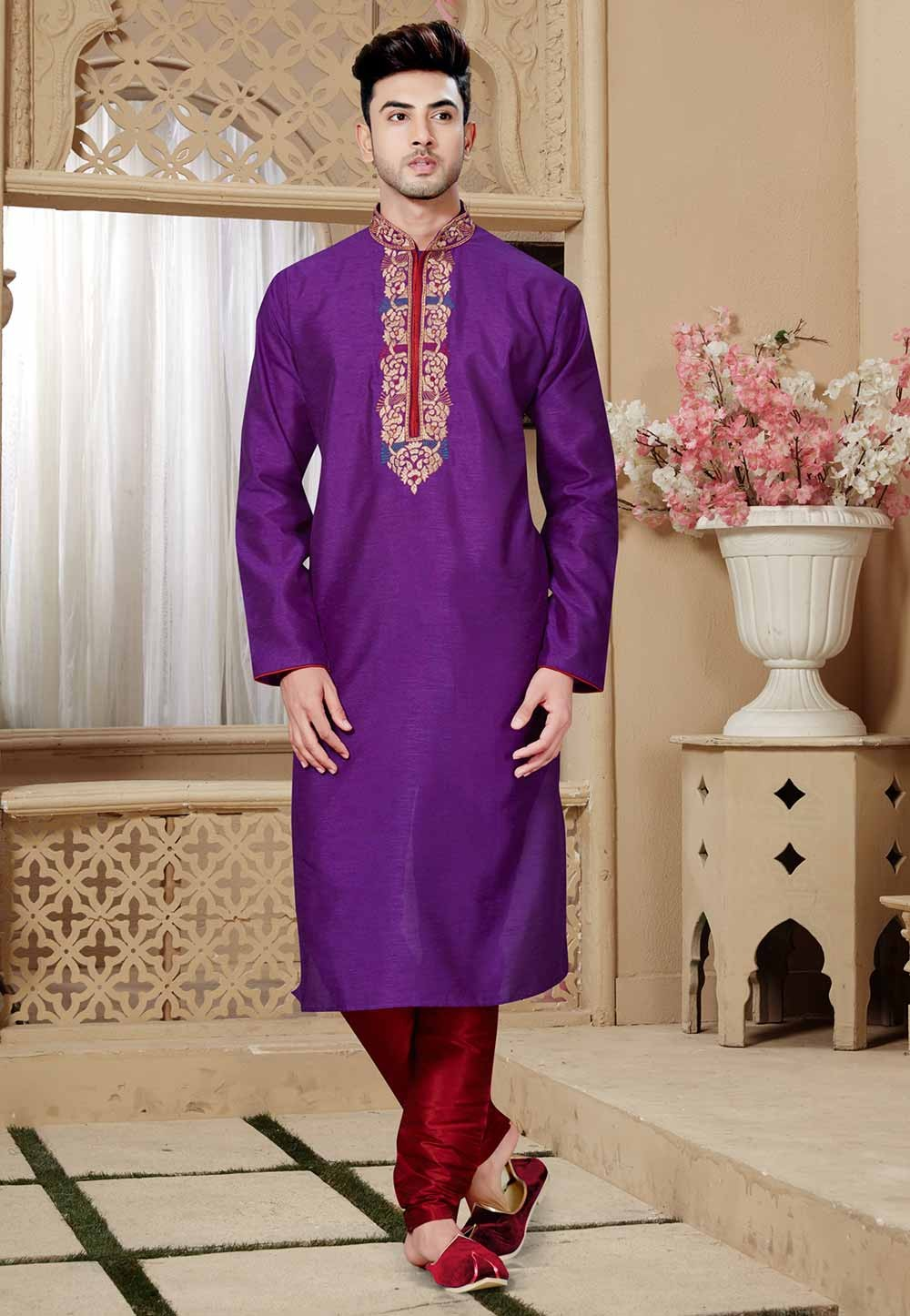 Purple Color Art Silk Kurta Pajama.