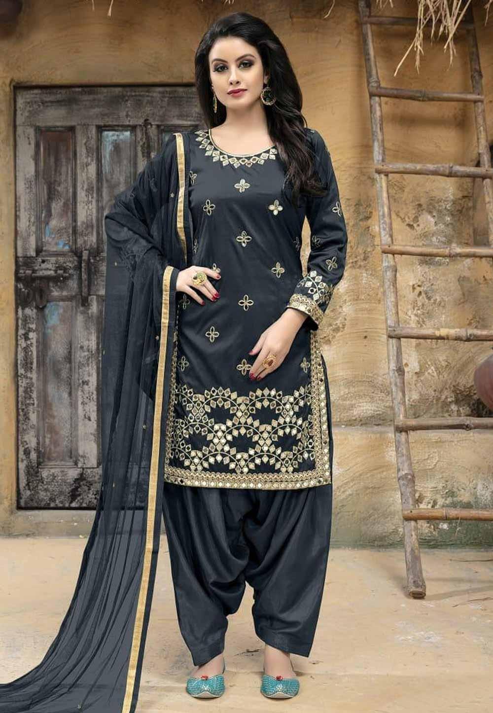 Grey Color Silk Salwar Kameez.