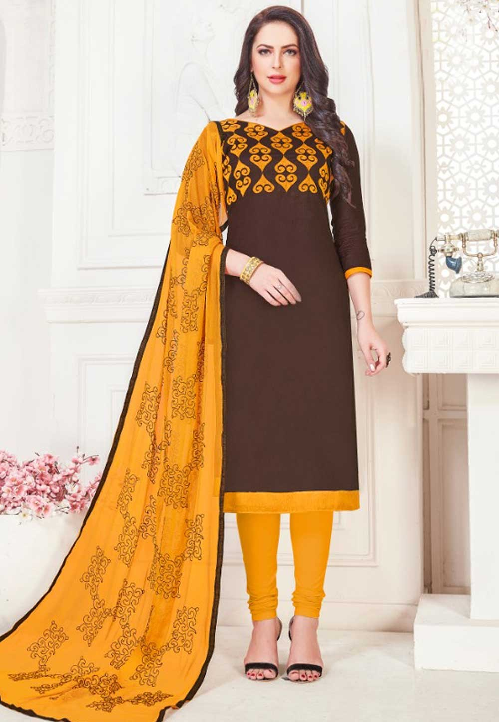 Brown Color Party Wear Salwar Kameez.