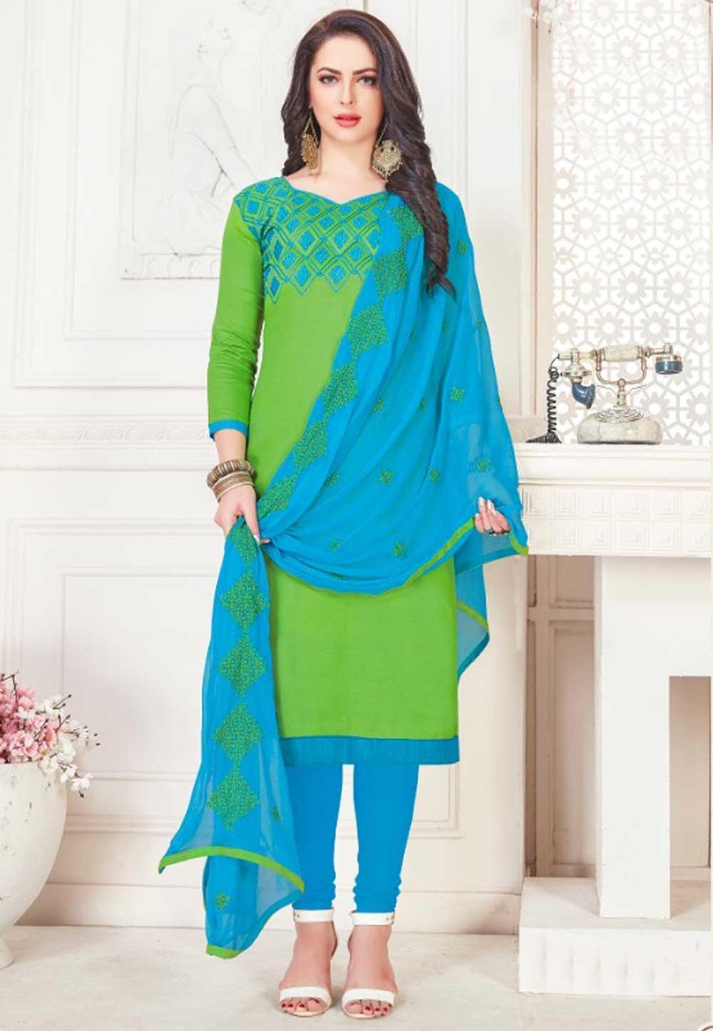 Green Color Salwar Kameez.