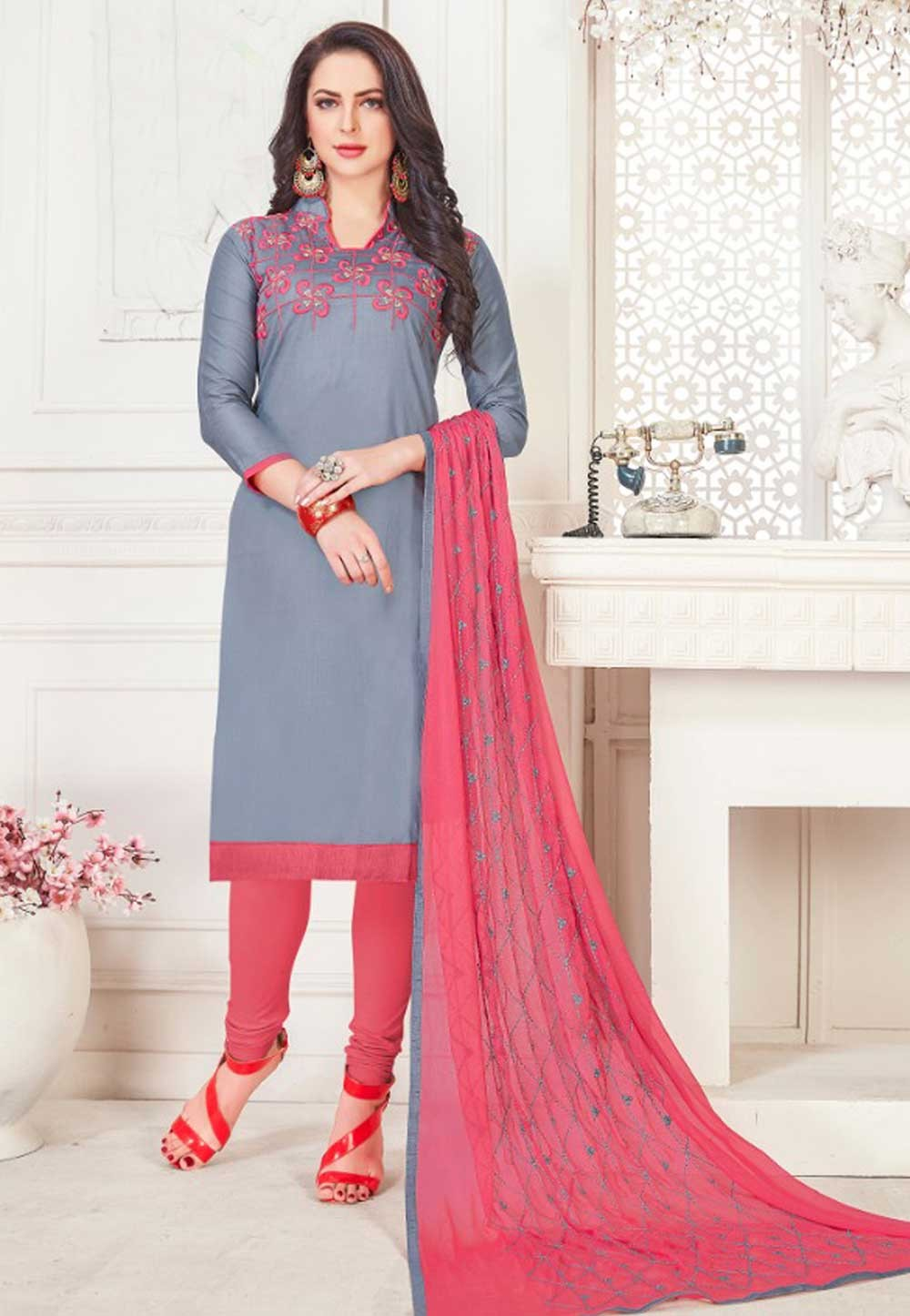 Grey Color Cotton Salwar Suit.