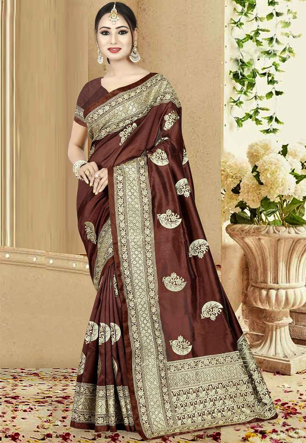 Brown Color Designer Saree.