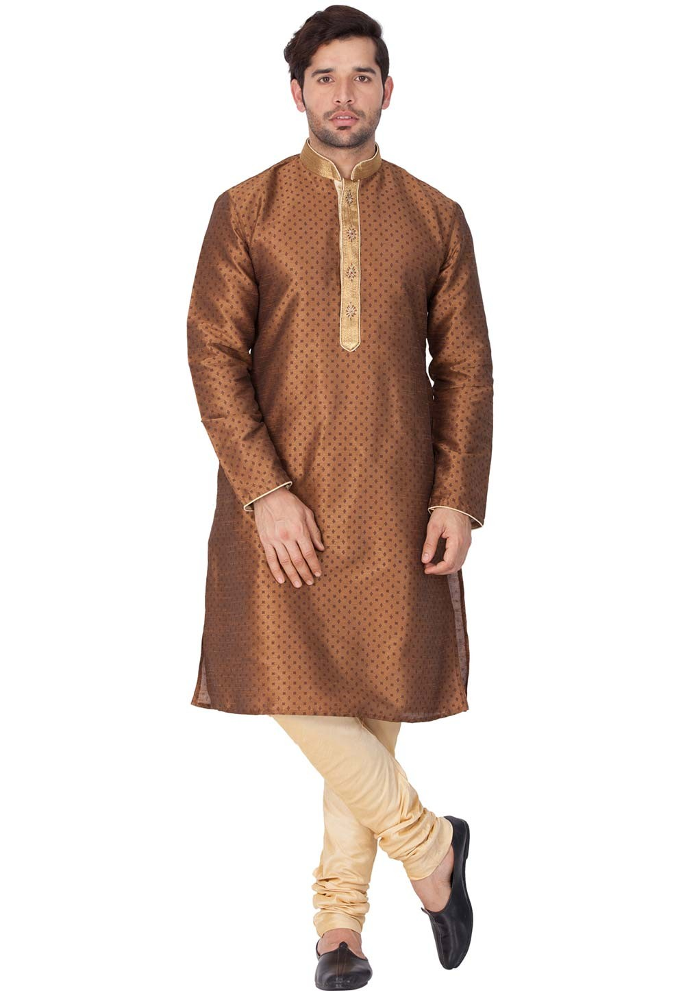 Brown Color Designer Kurta Pajama.