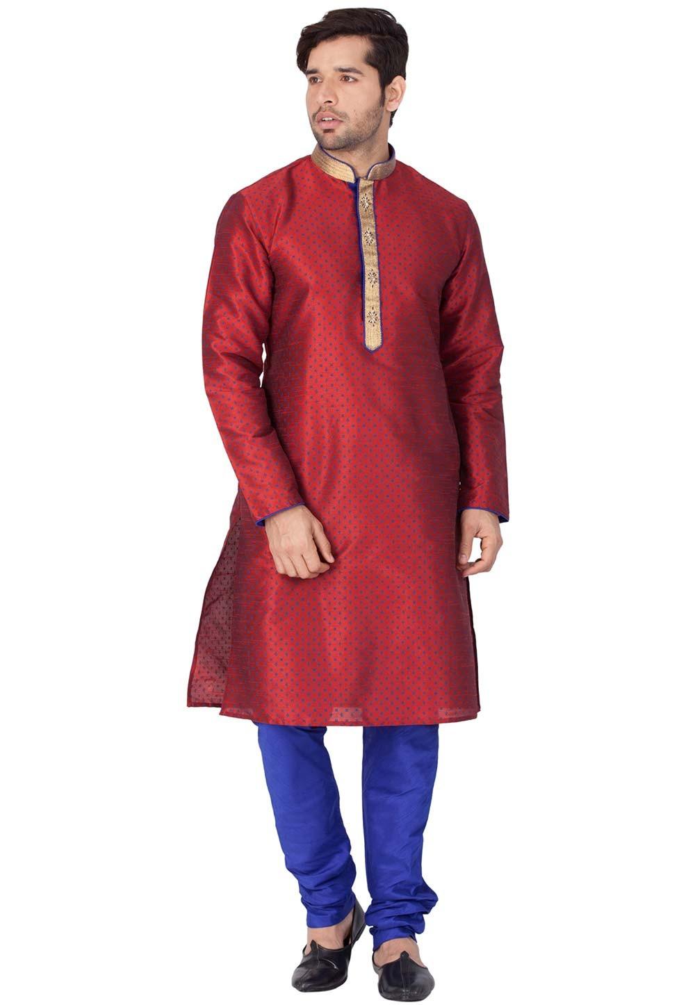 Buy kurta pajama online in Maroon Color