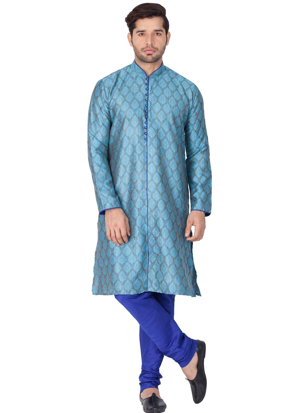 Blue Color Printed Kurta.
