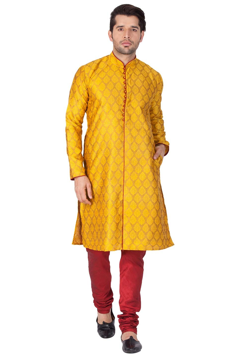 Yellow Color Designer Kurta Pajama.