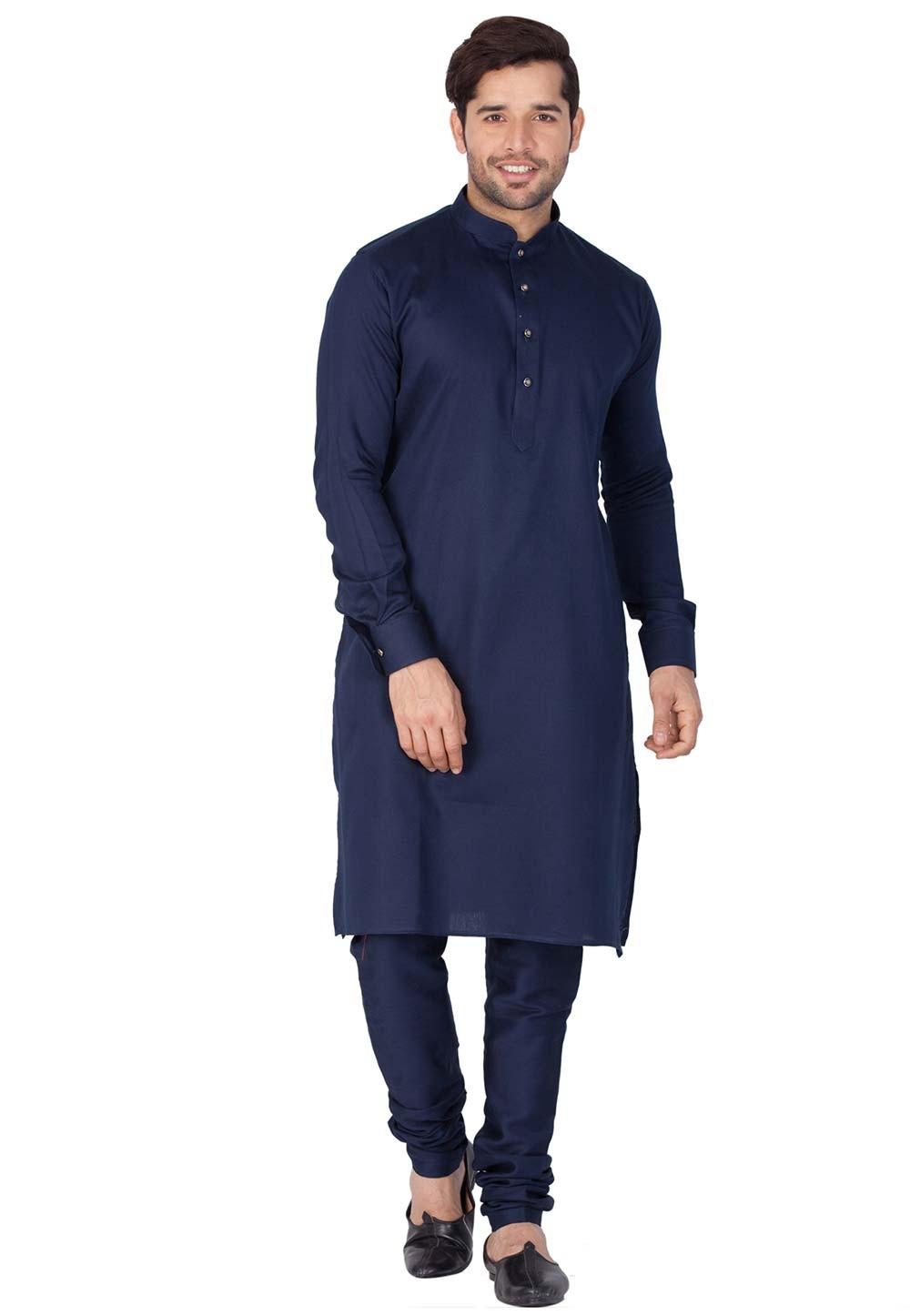 Blue Color Cotton Indian kurta pajama for mens