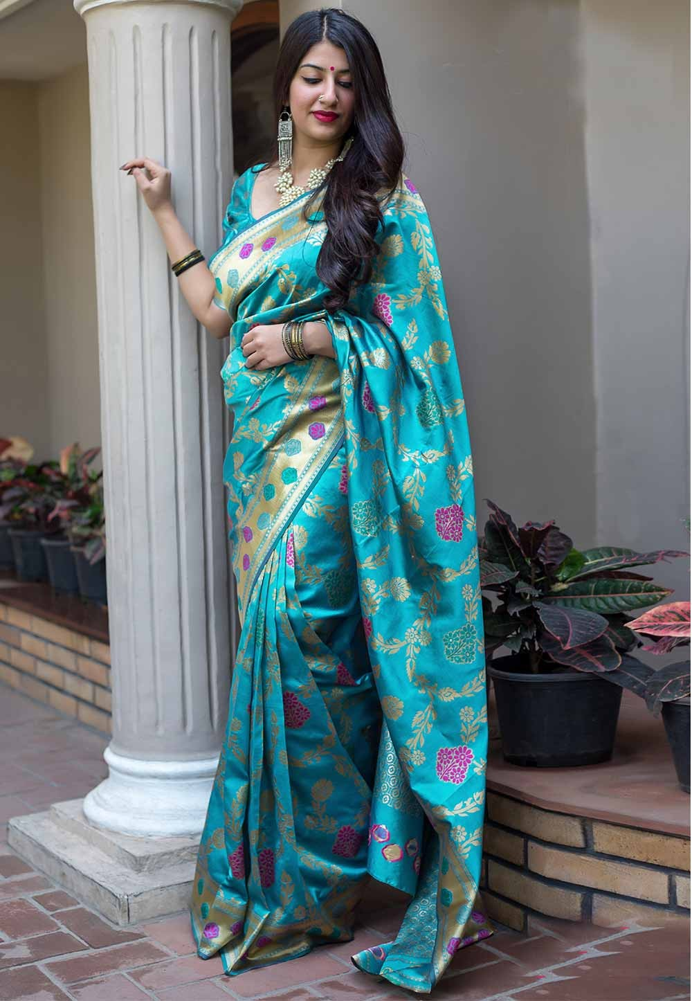 Blue Color Classical Silk Saree.