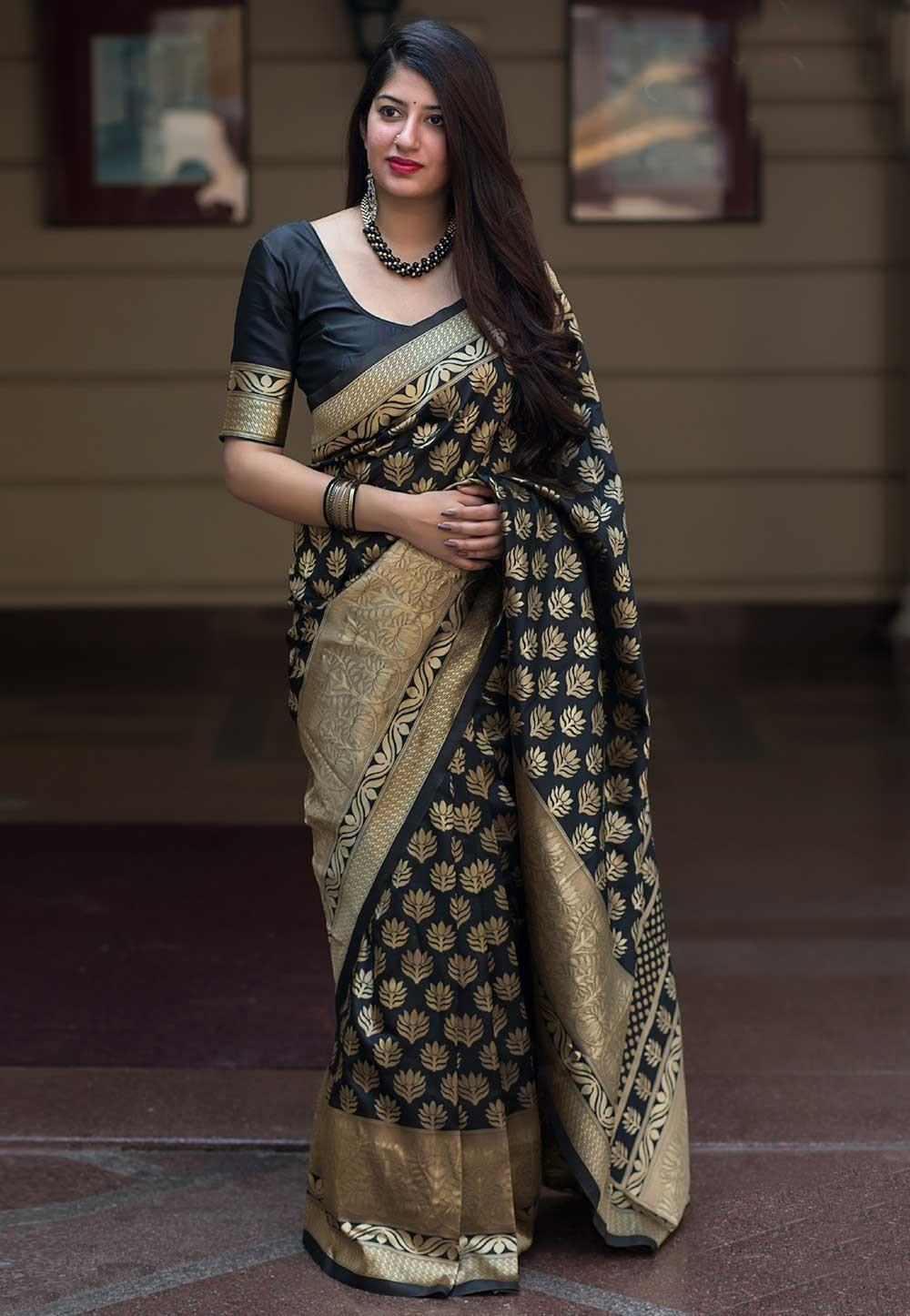 Black Color Printed Saree.