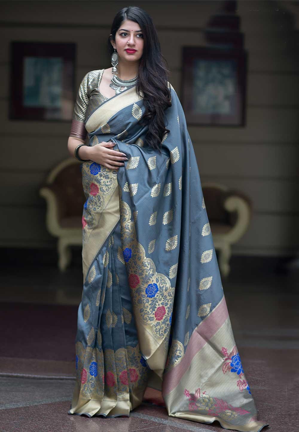 Grey Color Banarasi Silk Saree.