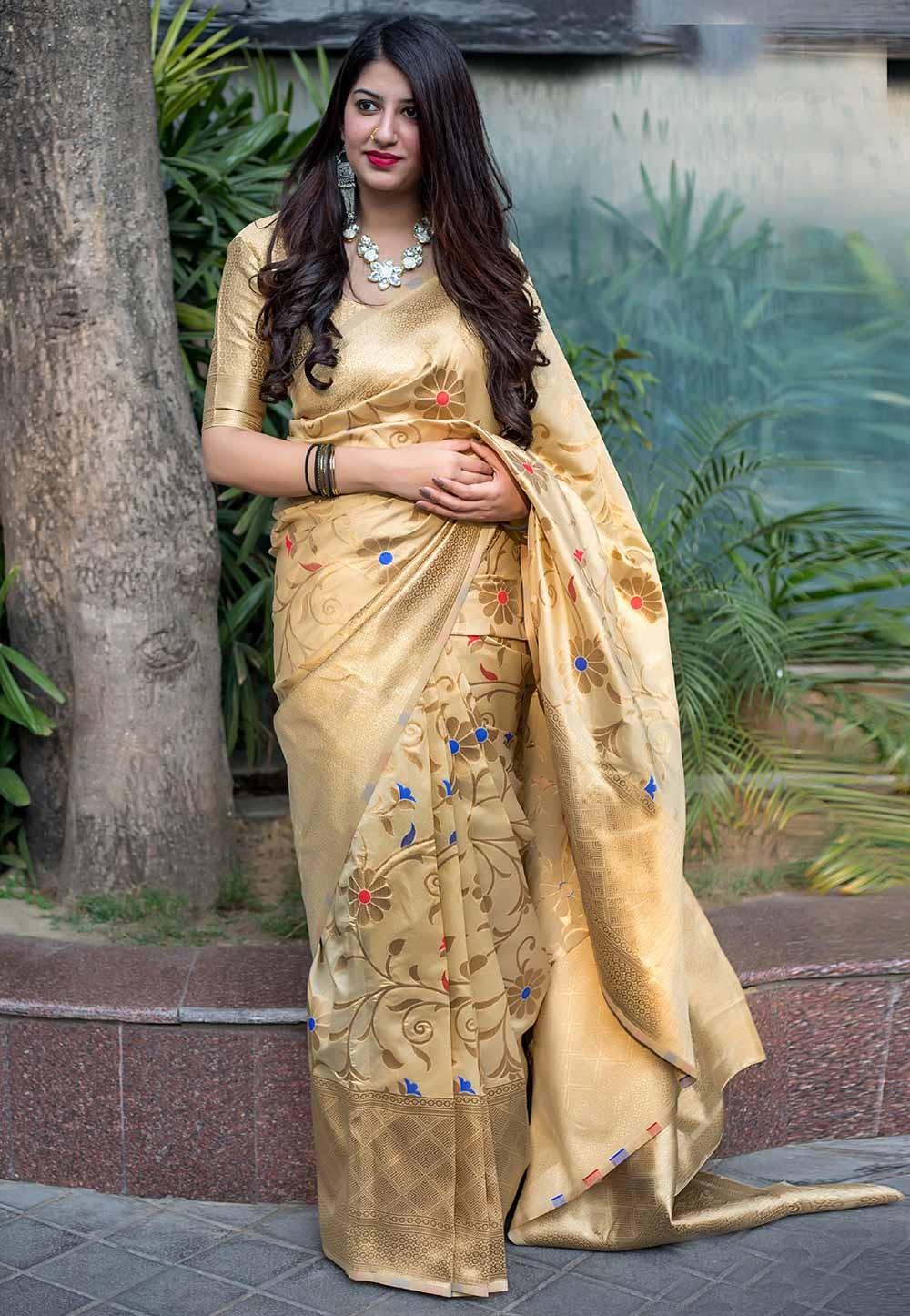 Golden,Cream Color Designer Saree.