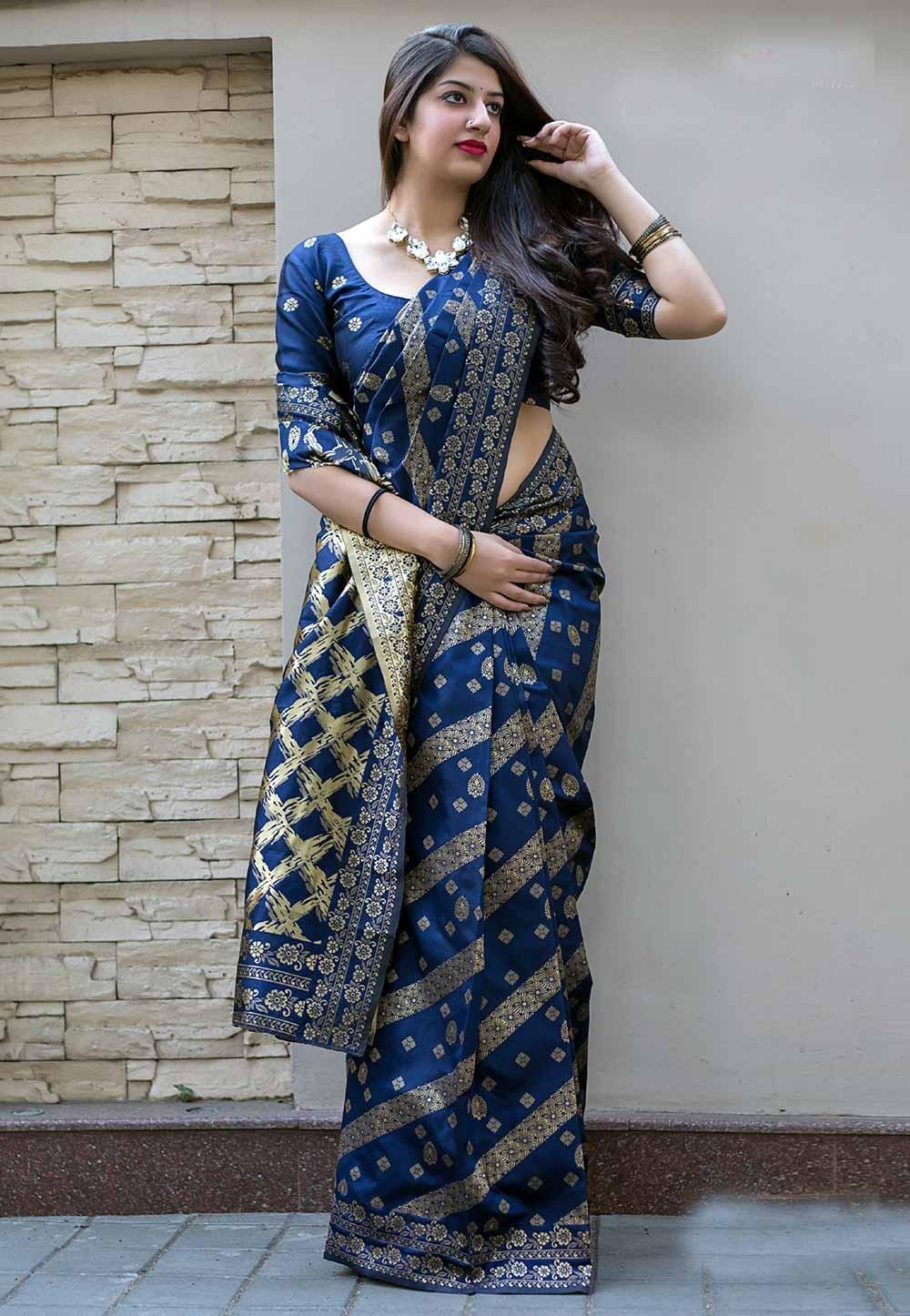 Blue Color Silk Saree.