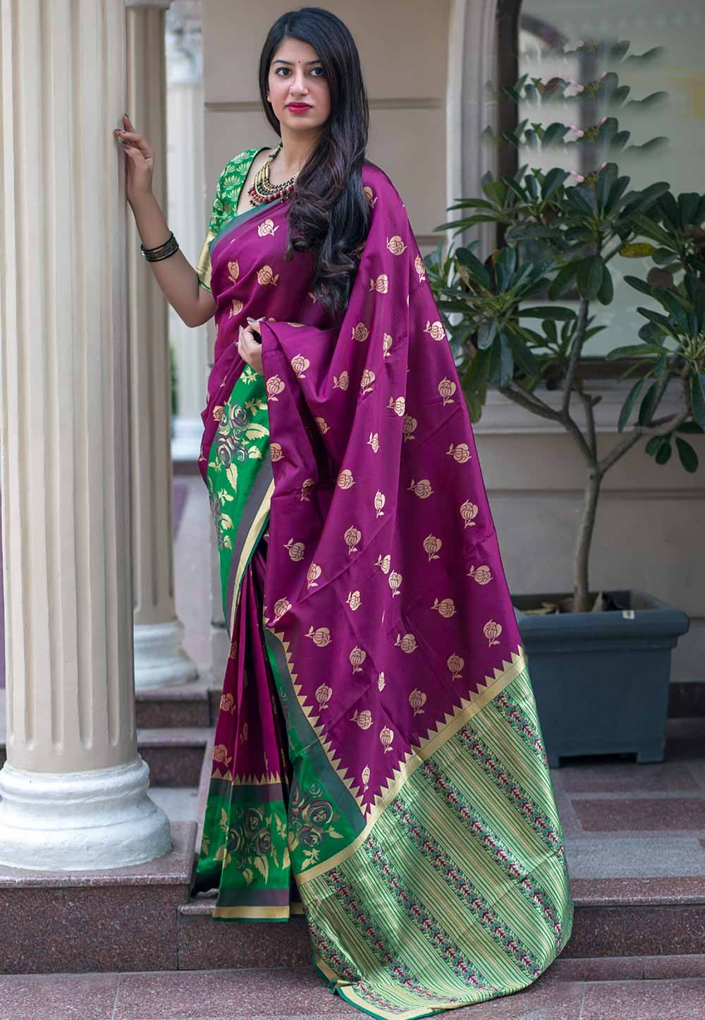 Magenta Color Classical Saree.