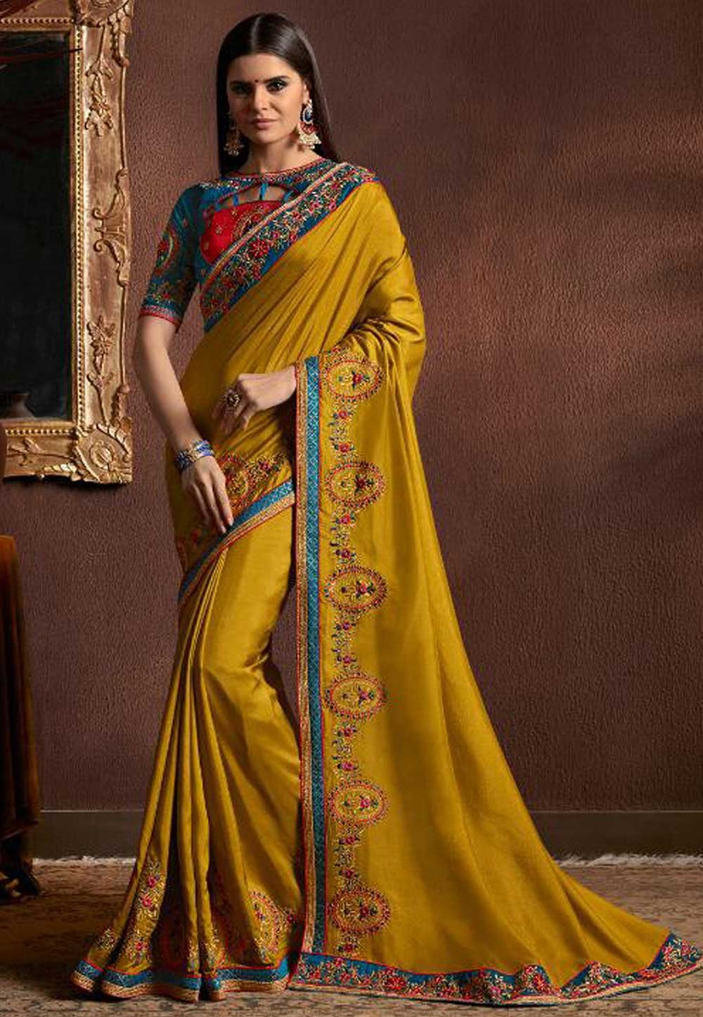 Yellow Color Designer Bridal Saree.