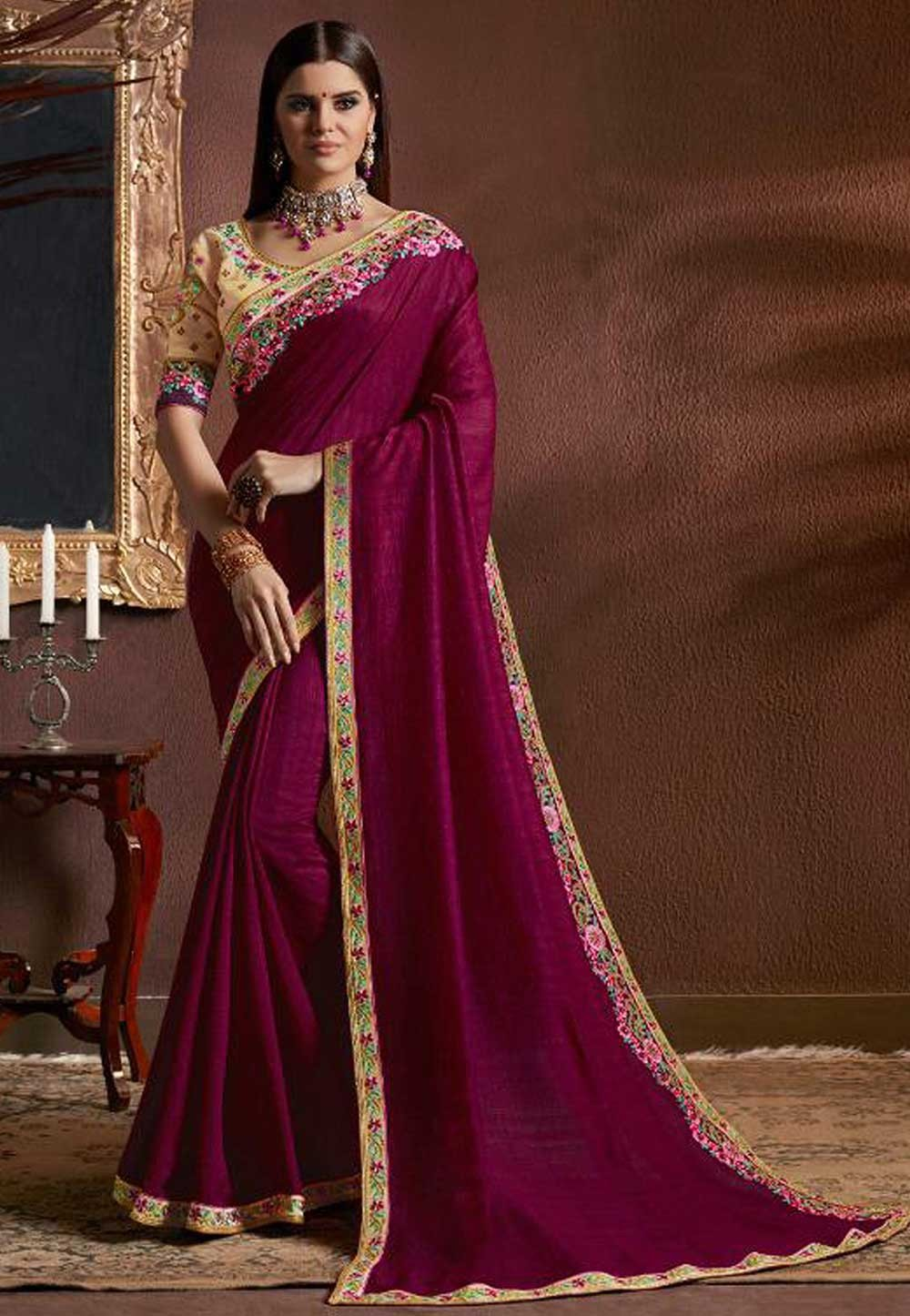 Magenta Color Designer Saree.