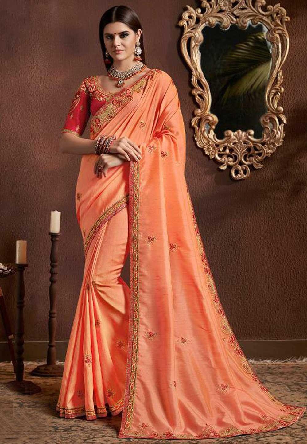 Orange Color Georgette Sari.