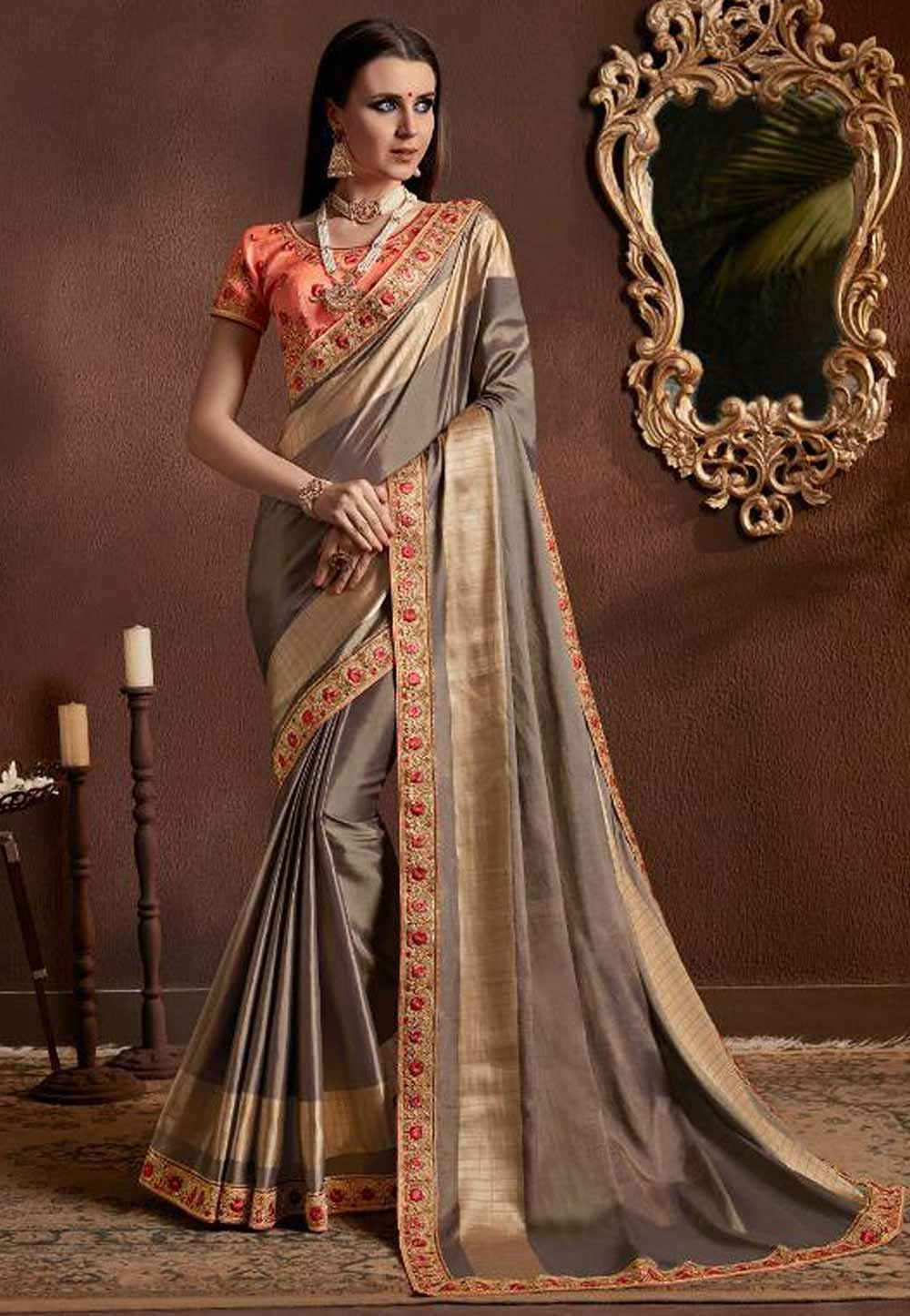 Grey Color Silk Saree.