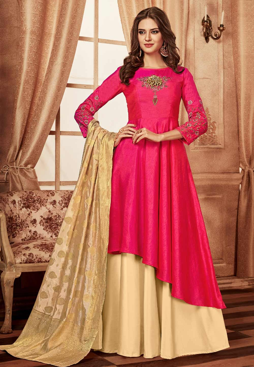 Pink Colour Designer Gown.