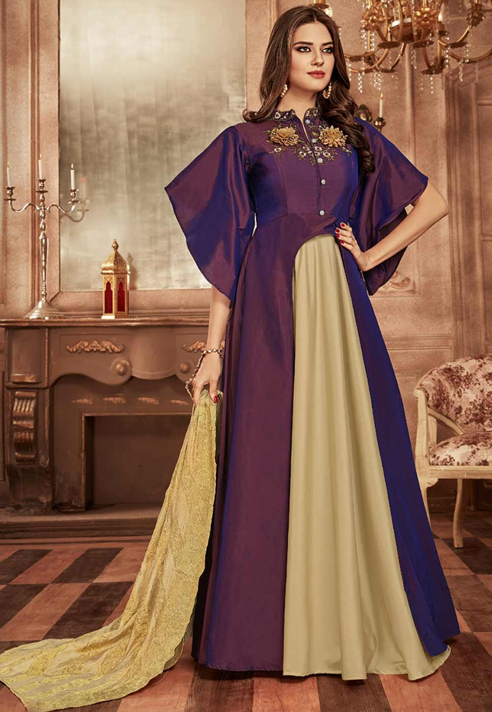 Purple Colour Readymade Gown.
