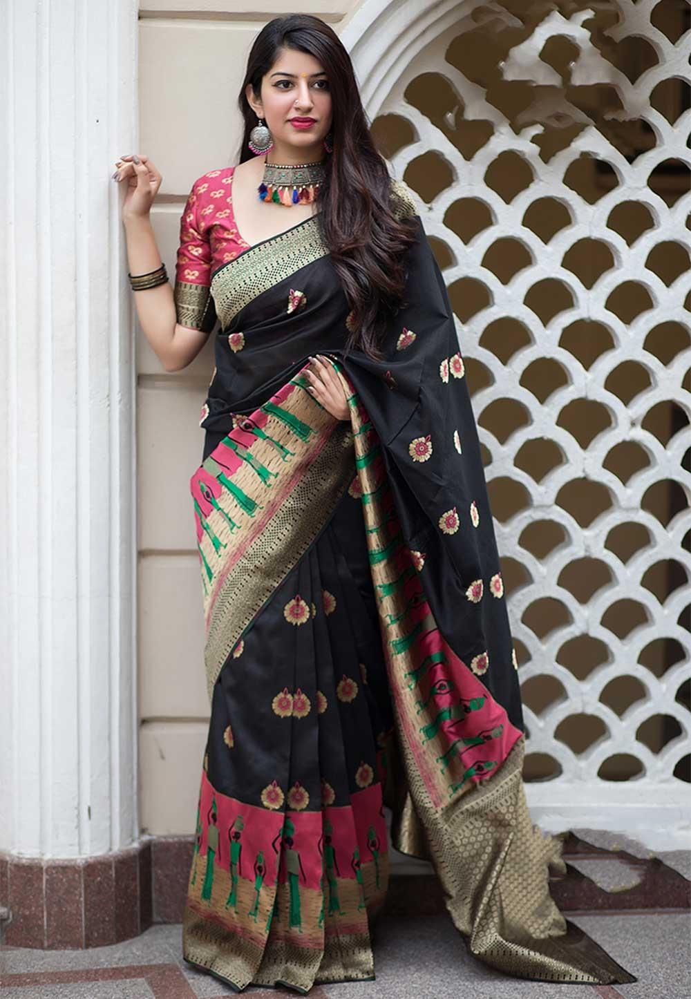 Black Colour Party Wear Saree.
