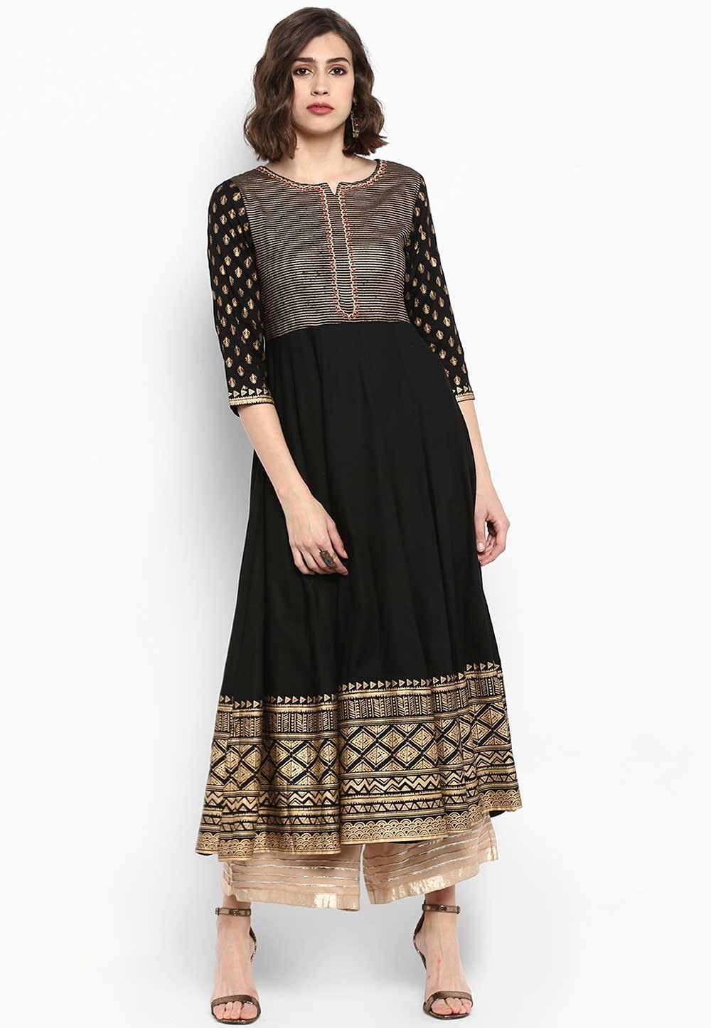 Black Colour Anarkali Kurti.