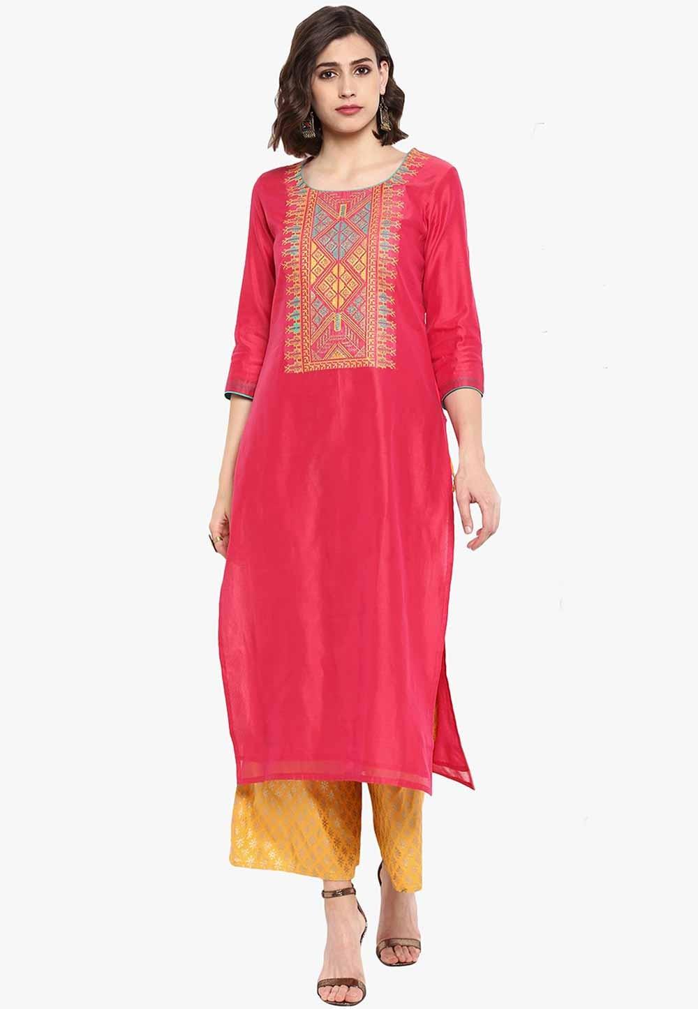 Pink Colour Silk Readymade Kurti.