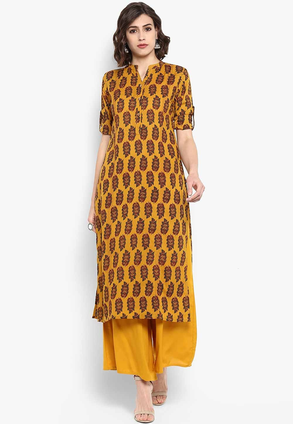 Yellow Colour Printed Readymade Kurti.
