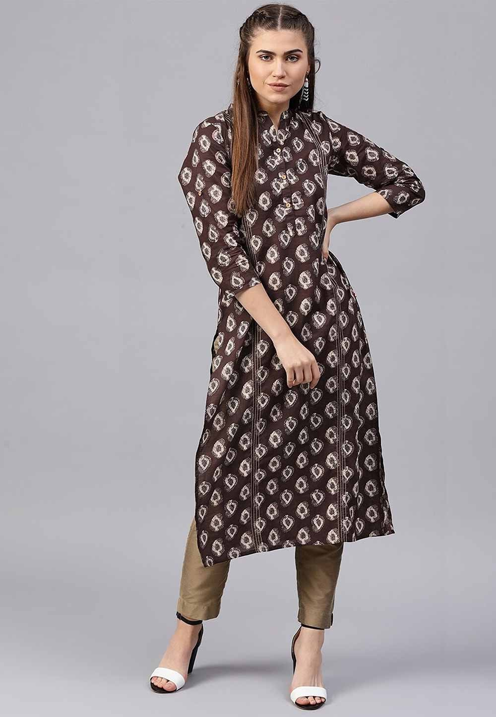 Brown Colour Party Wear Kurti.