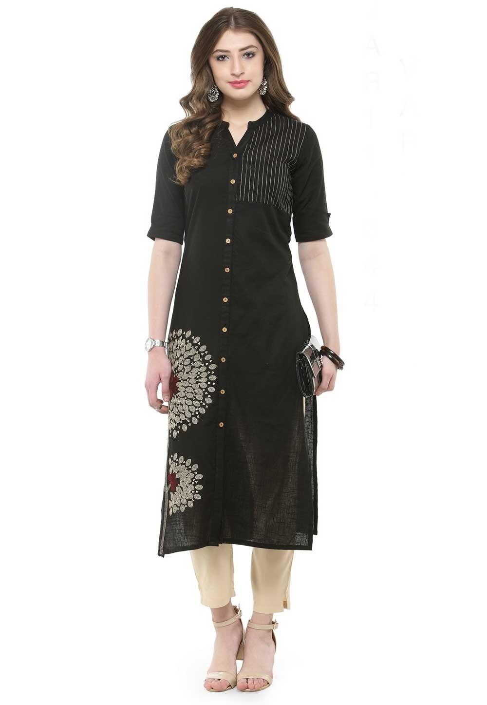 Black Colour Designer Kurti.