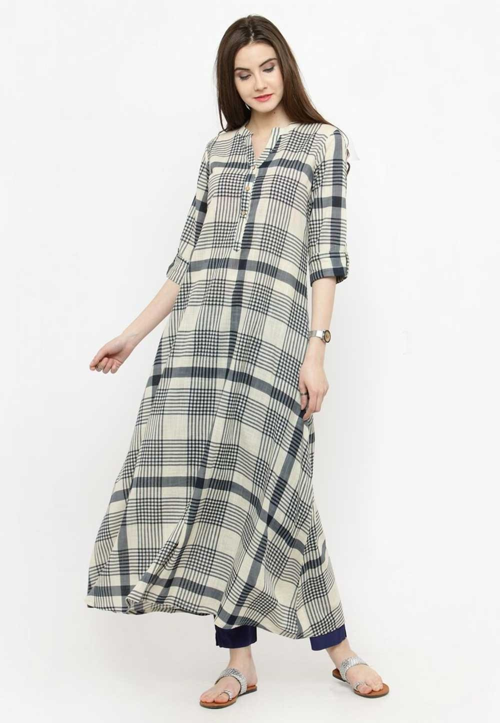Off White Colour Casual Casual Kurtis Online