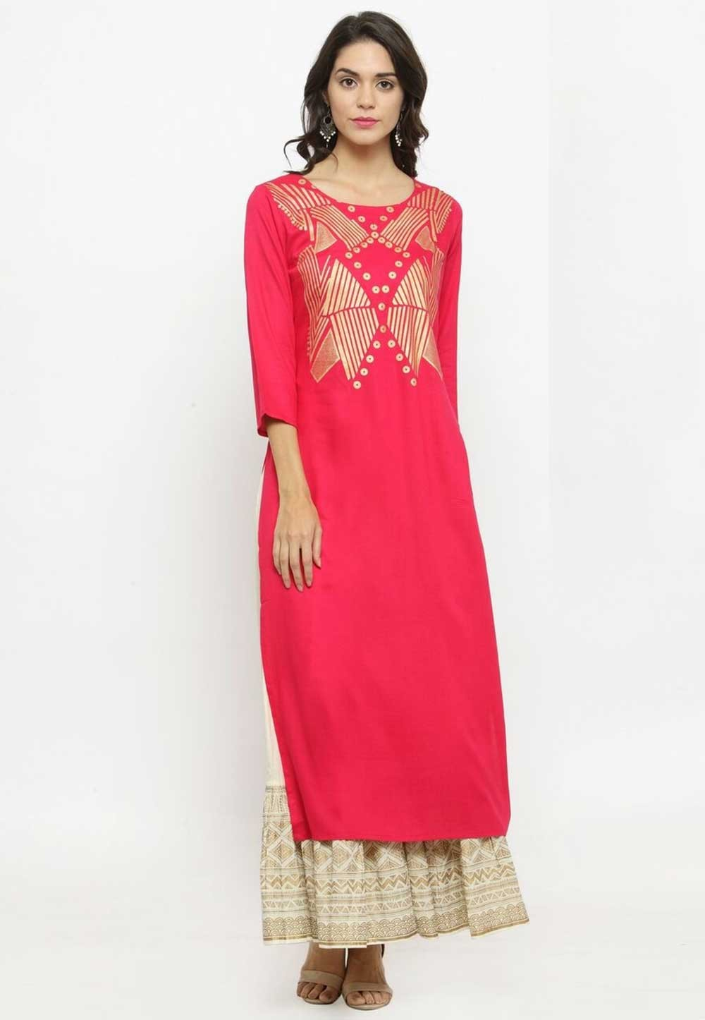 Red Colour Readymade Casual Kurtis Online