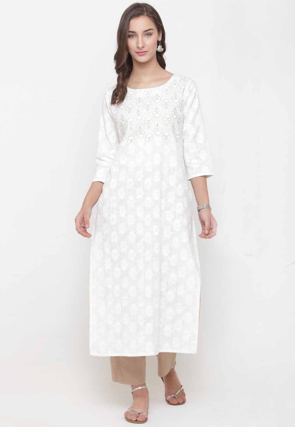 White Colour Casual Kurti.