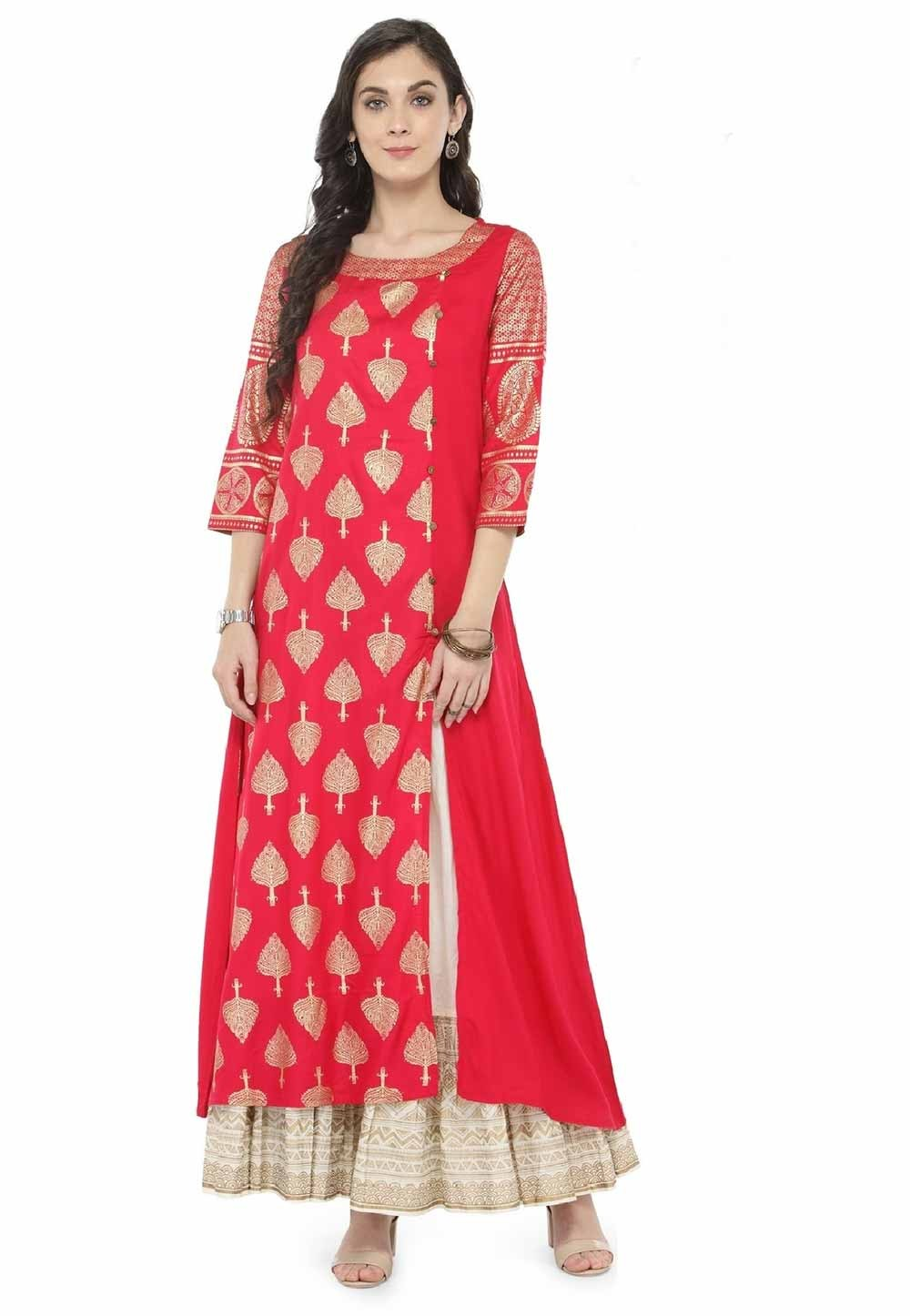 Red Colour Printed Kurti.