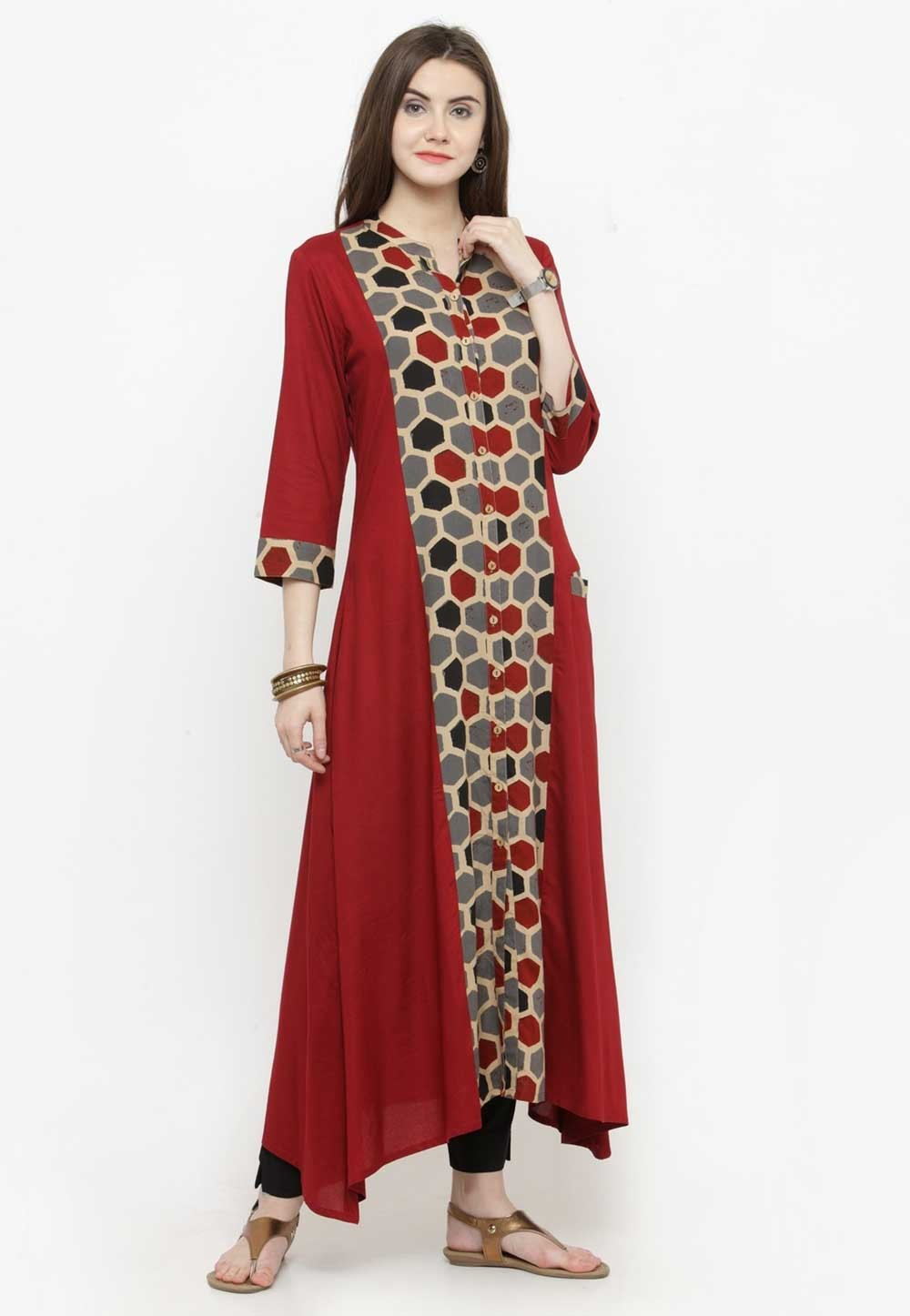 Maroon Colour Long Kurti.