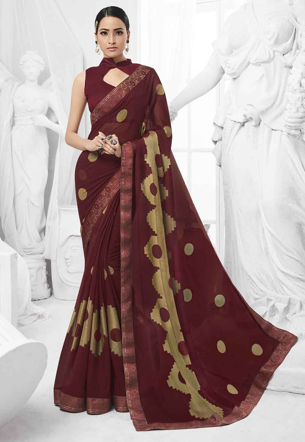 Brown Colour Designer Saree.