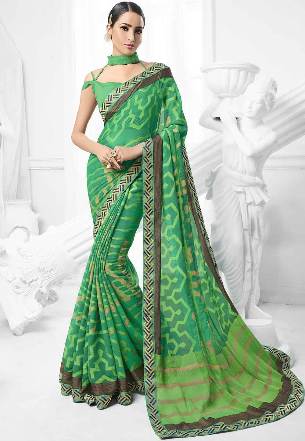 Green Colour Indian Sari.