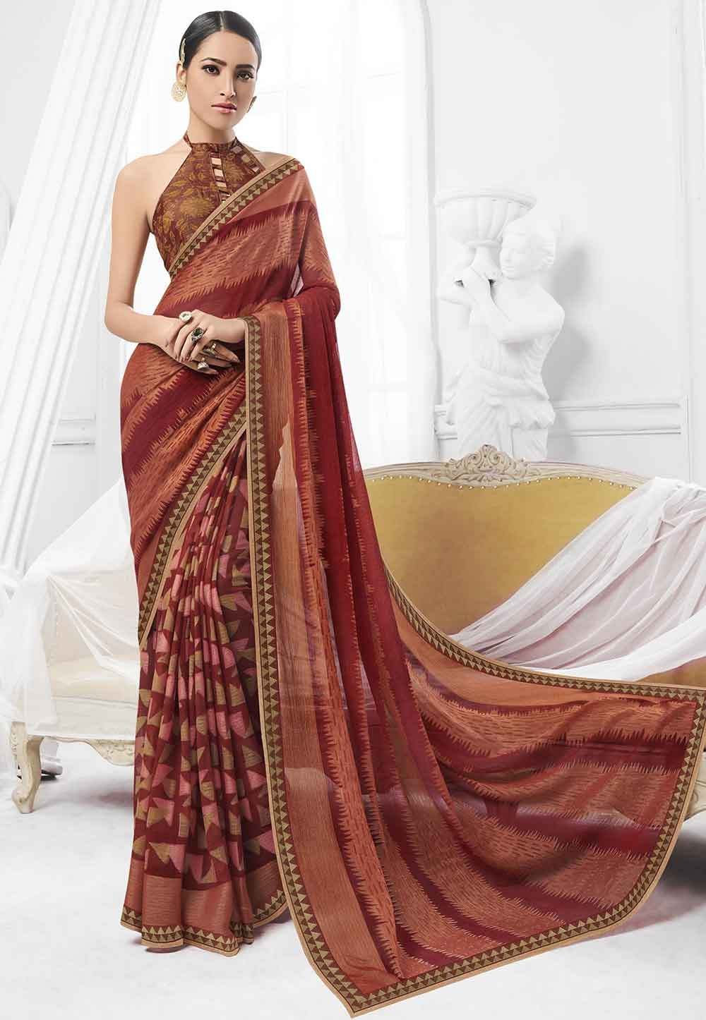 Brown Colour Printed Sari.